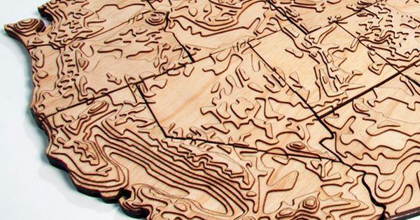 Wood Cut Topo Us Maps 好き Pinterest Maps Cnc And