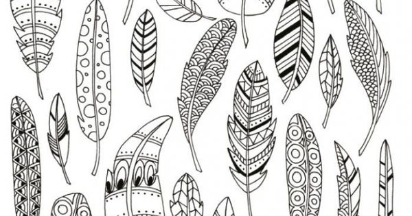 Abstract Bird Coloring Pages : Zen coloring pages of abstract bird feather for grown ups