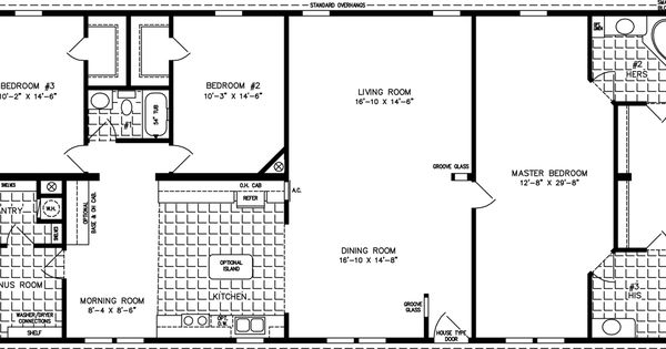 2000 sq ft floor plans the tnr 4687w manufactured home for 2000 sq ft prefab homes