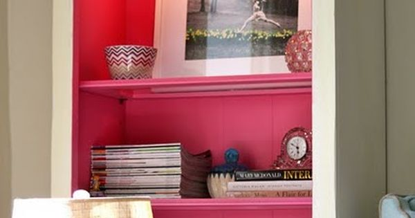 pop of color. paint the inside shelves and back of a bookcase