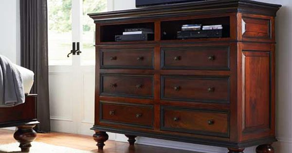 Media Cabinet/Dresser Combo For The Bedroom.. Great Idea