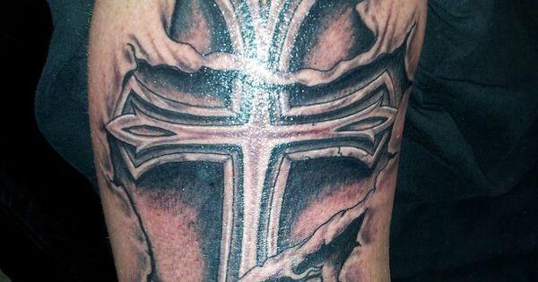 Torn skin tattoo cross tattoo robert 39 s work fontana ca for Defining skin tattoo