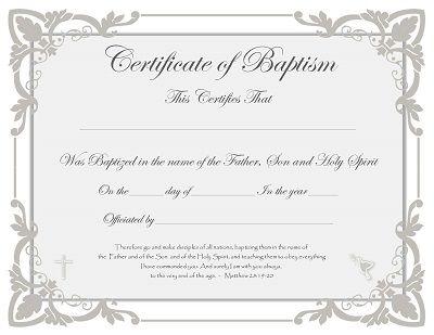 Certificate Of Baptism Baptism Certificate Templates Baby Dedication Certificate