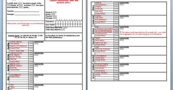 Download: Homeschool High School Report Card Template | School ...