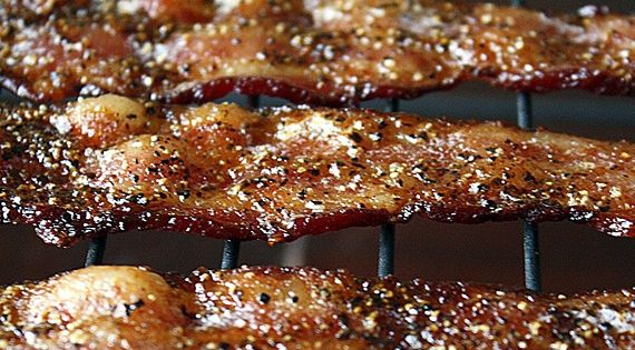 Tennessee Bacon Candy 1 pound Benton's bacon 3 tablespoons Jack Daniel's Whiskey