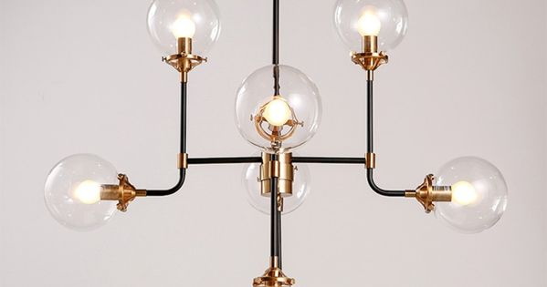 lustre design 8 bras et globe transparent luminaires design pinterest lustre design. Black Bedroom Furniture Sets. Home Design Ideas