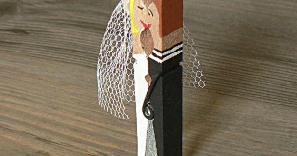 D cor mariage de table vente de pince linge mariage bois num ros titulaires mari e mari - Pince a linge mariage ...