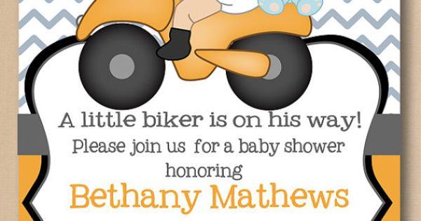 Motorcycle baby shower invitation, printable biker baby invite, orange chevron stripes, coed