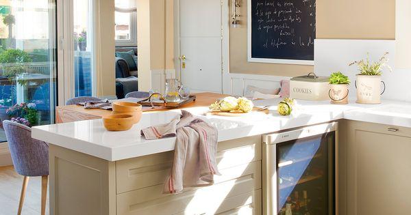 Cocina office con pen nsula y vinoteca insertada cocinas - Decoracion de vinotecas ...
