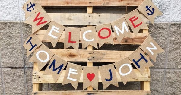 Welcome home burlap banner patriotic military bunting for Patriotic welcome home decorations