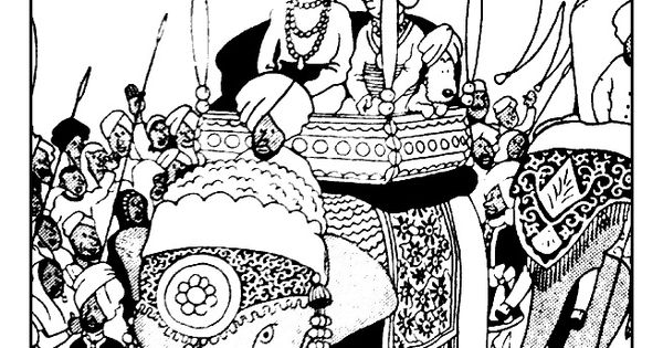 Free Coloring Page Coloring-tintin-on-a-elephant. Tintin