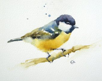 Titmouse Original Watercolor Bird Painting 5 X 7 Inches En 2019