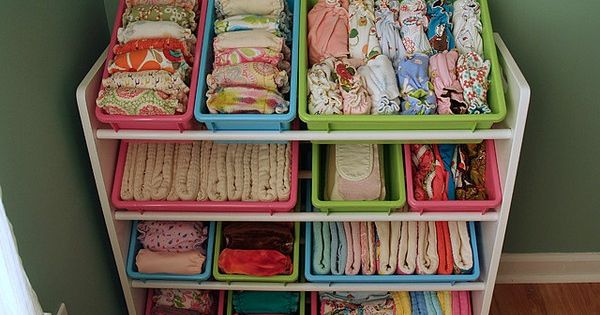 baby stuff organizer! love this idea for cloth diapers (or, what have