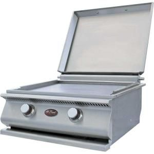 Cal Flame 15 000 Btu 2 Burner Built In Stainless Steel Hibachi Flat Top Propane Gas Grill Bbq13900p At The Hom With Images Cal Flame Hibachi Grill Outdoor Kitchen Design