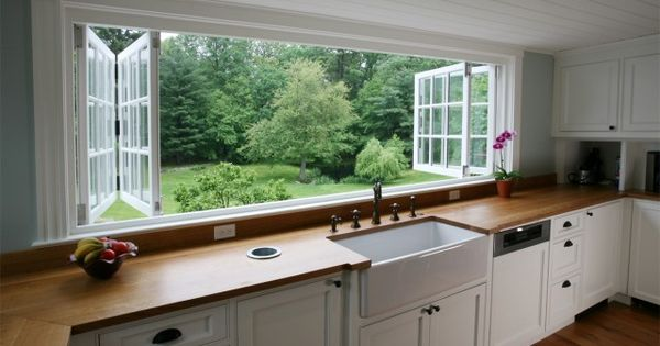 Kitchen sink and wide opening kitchen window