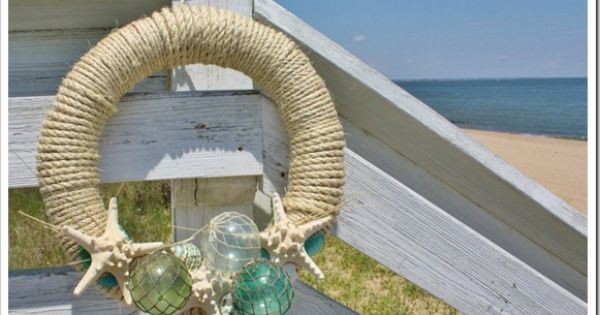 GLASS FLOAT SUMMER WREATH: Straw wreath. sisal rope, Glass Floats, Straight pins