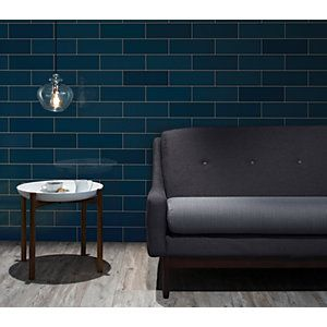 Wickes Soho Blue Ceramic Tile 300 X 100 Mm Wall Tiles Design Blue Tiles Wickes