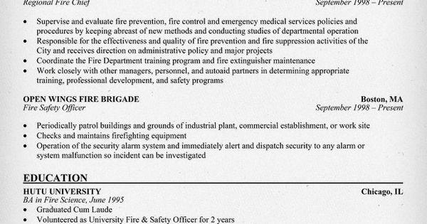 Fire Chief Resume Example Http Resumecompanion Com