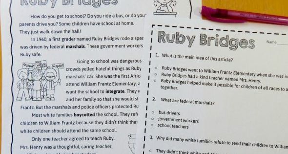free reading comprehension passage a ruby bridges worksheet reading comprehension passages. Black Bedroom Furniture Sets. Home Design Ideas