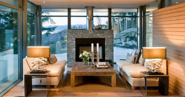 Exquisite Scandinavian Design With Rustic Natural Stone Fireplace Also