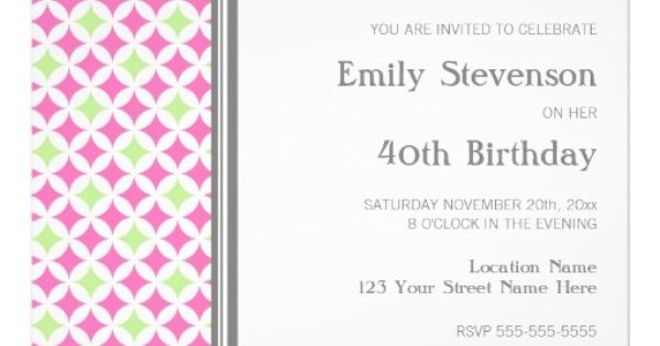 Pink Lime Grey 40th Birthday Party Invitation | 40th ...