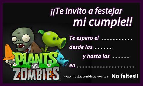 Tarjeta De Cumpleaños De Plants Vs Zombies Plantas Vs