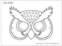Owl Mask Coloring Sheet For Owl Moon Owl Mask Owl Moon Owl