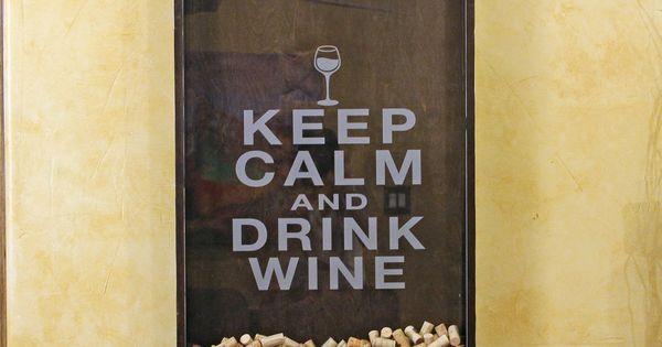 Wine Cork Holder Wall Decor Art - Keep Calm & Drink Wine.