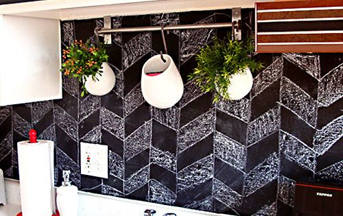 DIY chevron chalkboard backsplash pattern... My love of chalkboard walls grows!