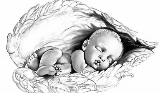 the gallery for baby angel wings drawings. Black Bedroom Furniture Sets. Home Design Ideas