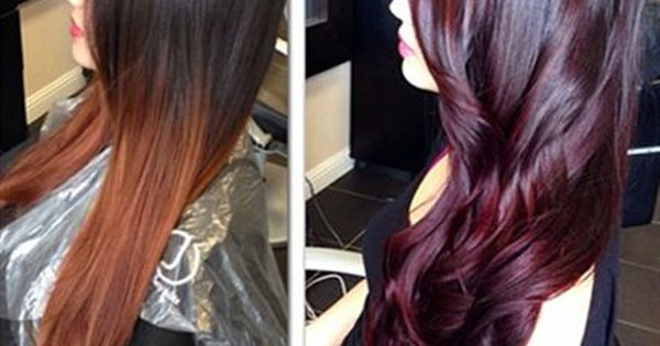 Before / after. Love this color red. Miss my colored hair.