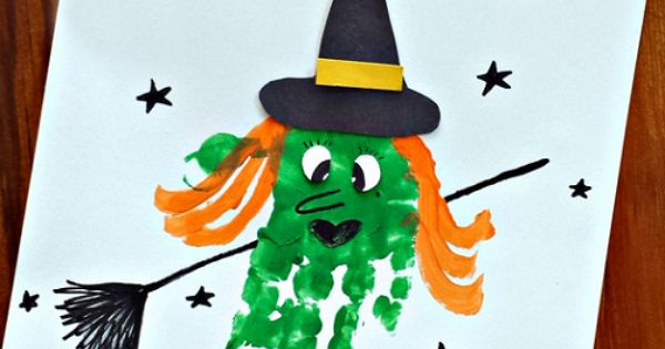 Learn how to make a handprint witch craft for kids! All you