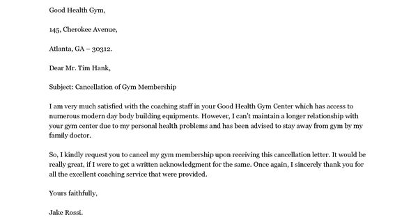 Cancel Gym Membership Letter