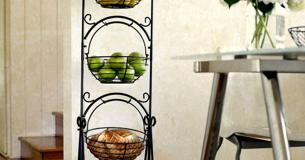 Pin Scroll 3 Tier Floor Basket Stand with Black Finish