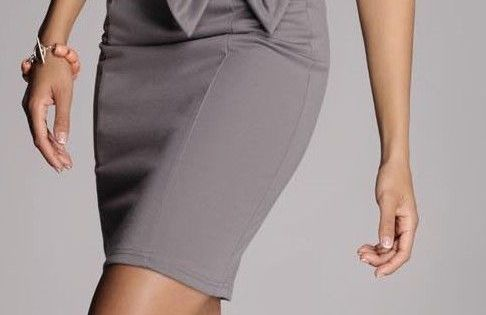 Cute work outfit White top and grey pencil skirt