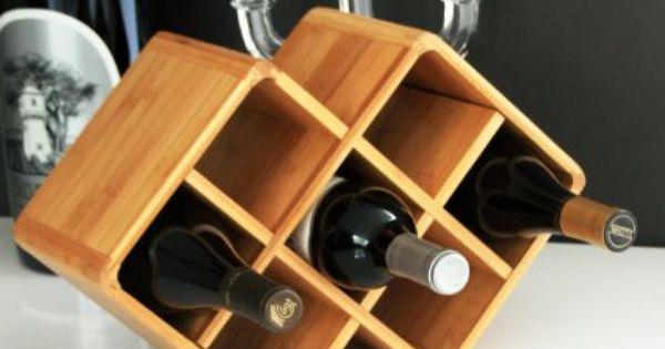 Firenze 8 Bottle Bamboo Countertop Wine Rack Modern Design For