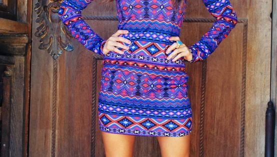 Cute tribal patterned dress boots look good with the dress