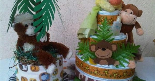 Making diaper cake centerpiece jungle monkey theme diaper cake and centerpiece i make for my - Baby shower monkey theme cakes ...