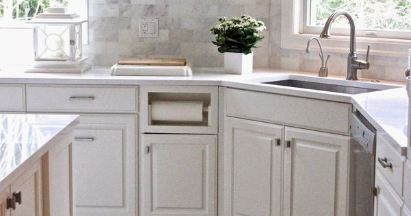 White quartz countertops and the backsplash is carrera marble subway tiles pic from forever - Forever tile and stone ...