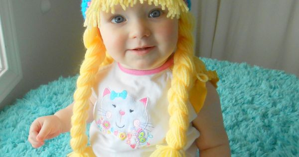 Baby Girl Hat Earflaps Hippie Beanie With Pigtails Blue