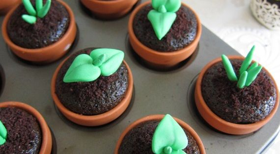 Sweet Sprout Cupcakes - made your favorite chocolate cupcake recipe, place batter