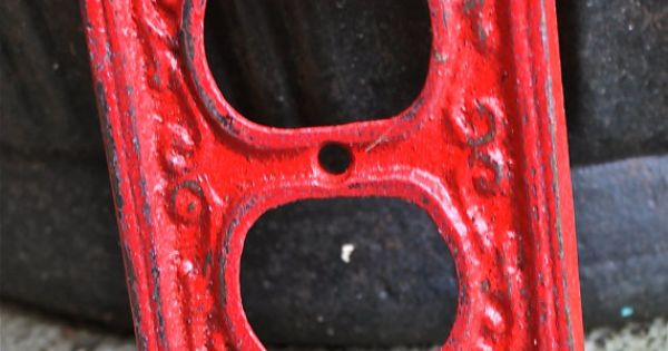 Red Tractor Plate Outlit : Red decorative electrical outlet plate for the home