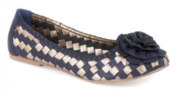 Pavers Bellissimo Woven Pump With Floral Embellishment