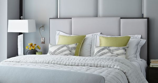 Contemporary bedroom monochromatic white gray decor for Monochromatic bedroom designs