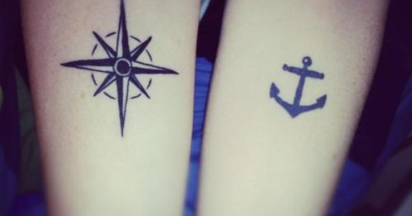 Compass and Anchor Tattoo. Could be best friend or couple tattoo. The