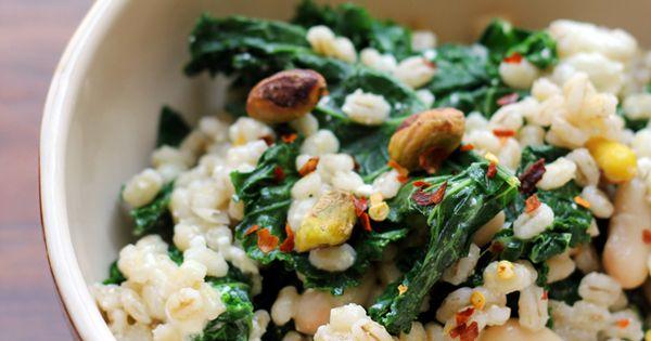 Barley salad with kale pistachios and feta receta - Cocinar col kale ...