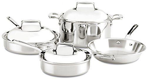 Allclad Sd70007 D7 1810 Stainless Steel 7ply Bonded Construction Dishwasher Safe Oven Safe Cookware Set 7piece Cookware Set Safest Cookware Pots And Pans Sets