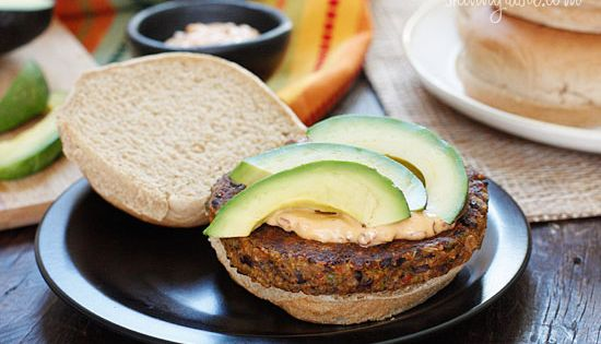 Spicy Black Bean Burgers with Chipotle Mayonnaise - one bite, you won't