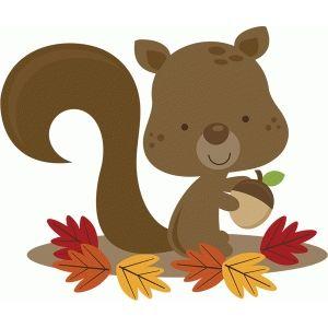 Silhouette Design Store View Design 46733 Miss Kate Squirrel In Leaves Fall Clip Art Squirrel Clipart Cute Clipart