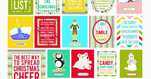8x10 Set of 16 Elf Christmas Digital Art by LeslieLovePrints